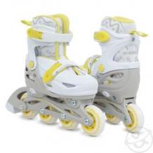 Купить ролики n.ergo n-083qh размер30-33, цвет: белый/желтый ( id 12009238 )