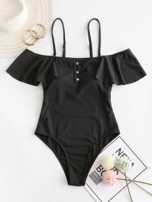 Купить zaful ribbed mock button ruffle one-piece swimwear ( id 462127505 )