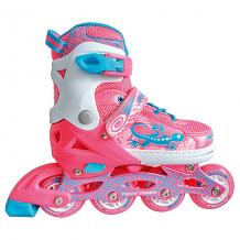 Купить набор: роликовые коньки, защита, шлем jungle set, розовые 8340679
