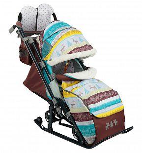 Купить санки-коляска nika kids ника детям 7-3/6, цвет: скандинавский бирюзовый ( id 6769255 )